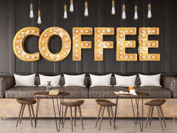 Light Bulb Coffee Shop Sign on Black Brick Wall stock photo