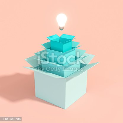 3d image render of a light bulb coming out of a series of boxes of different sizes. Concept of creativity and innovative ideas.