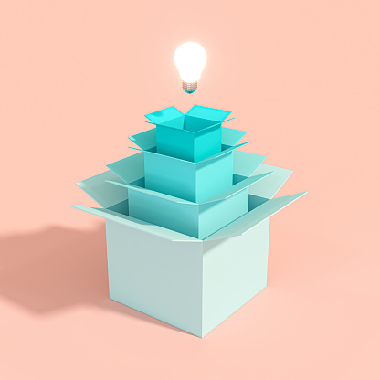 istock light bulb coming out of a series of boxes of different sizes. 1181642734