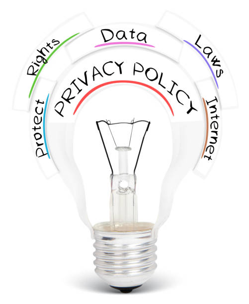 light bulb concept - privacy policy stock photos and pictures