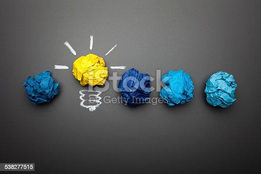 istock Light bulb crumpled paper on blackboard - Idea Concept Background 538277515