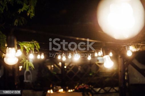 istock Light bulb decor in outdoor party. Wedding 1083241328