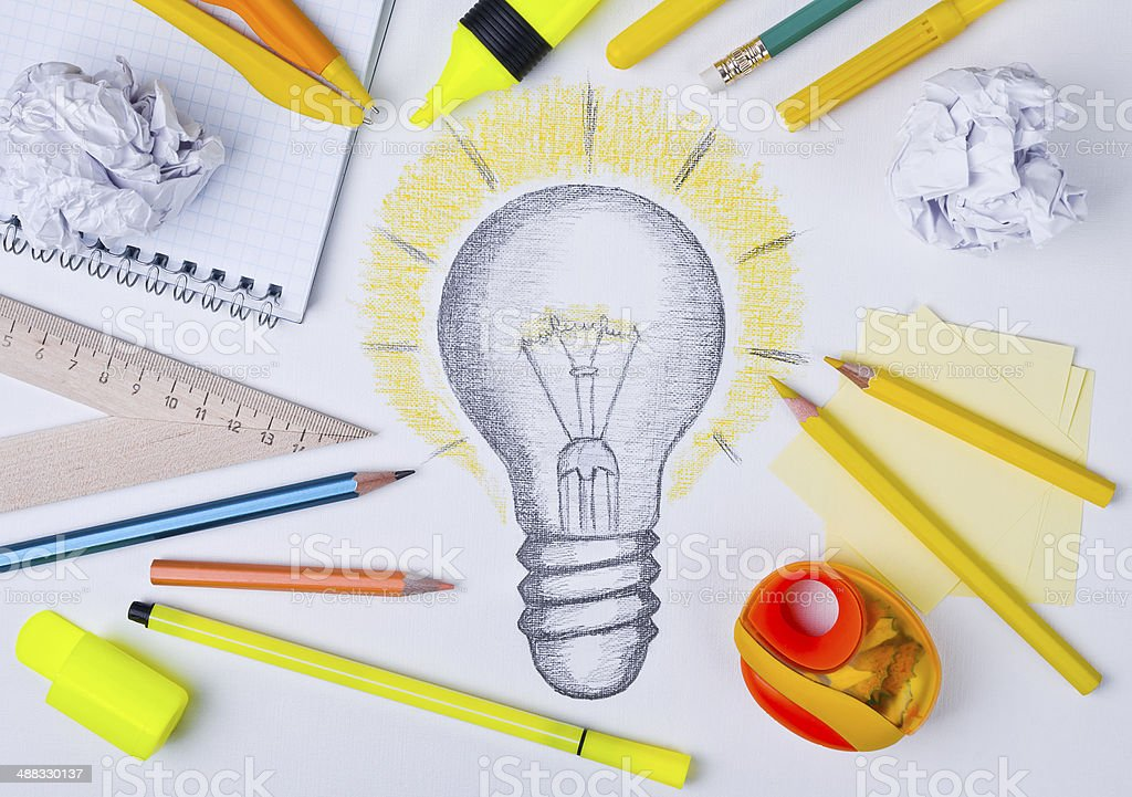 Light bulb drawing, inspiration concept stock photo