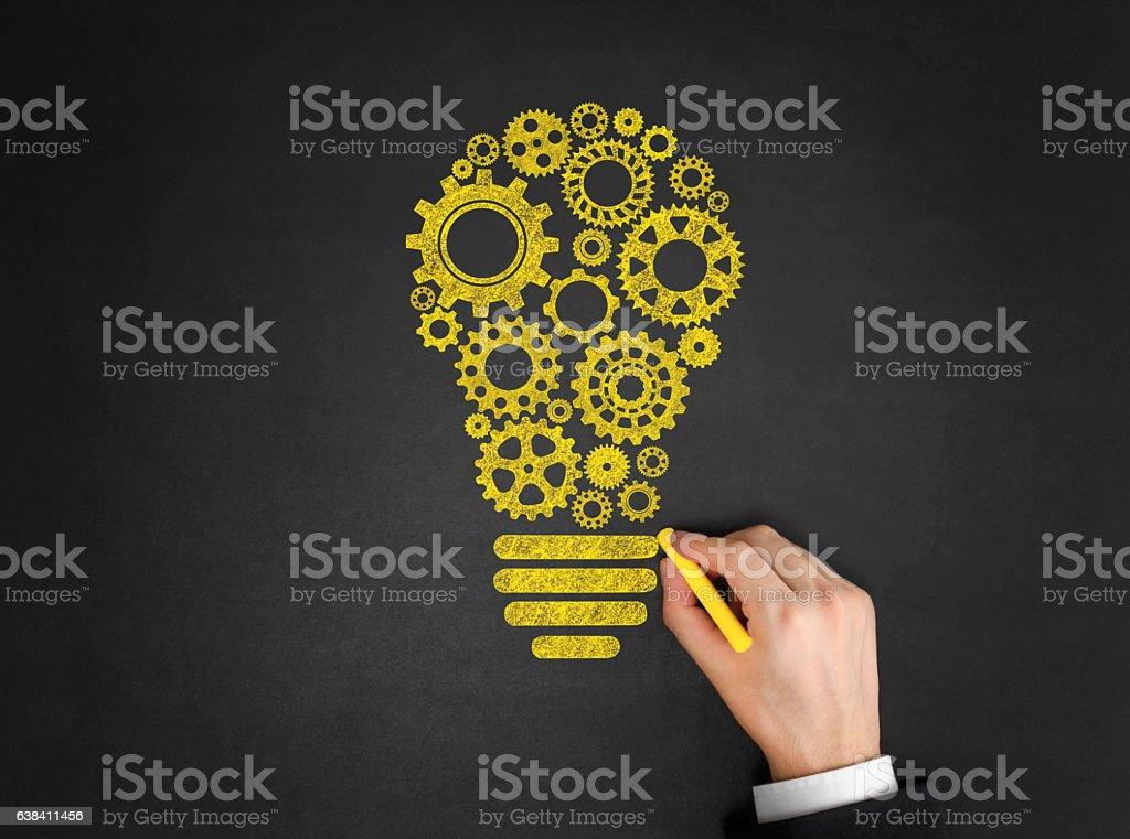 Light Bulb Drawing on Blackboard stock photo