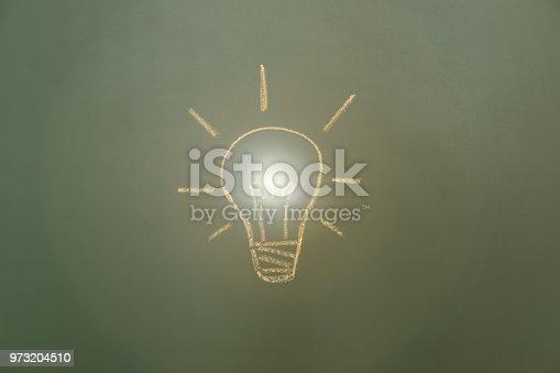 637166104 istock photo Light bulb drawn on blackboard 973204510