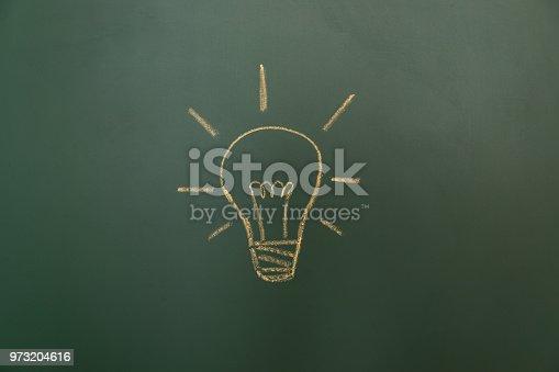 637166104 istock photo Light bulb drawn on blackboard 973204616