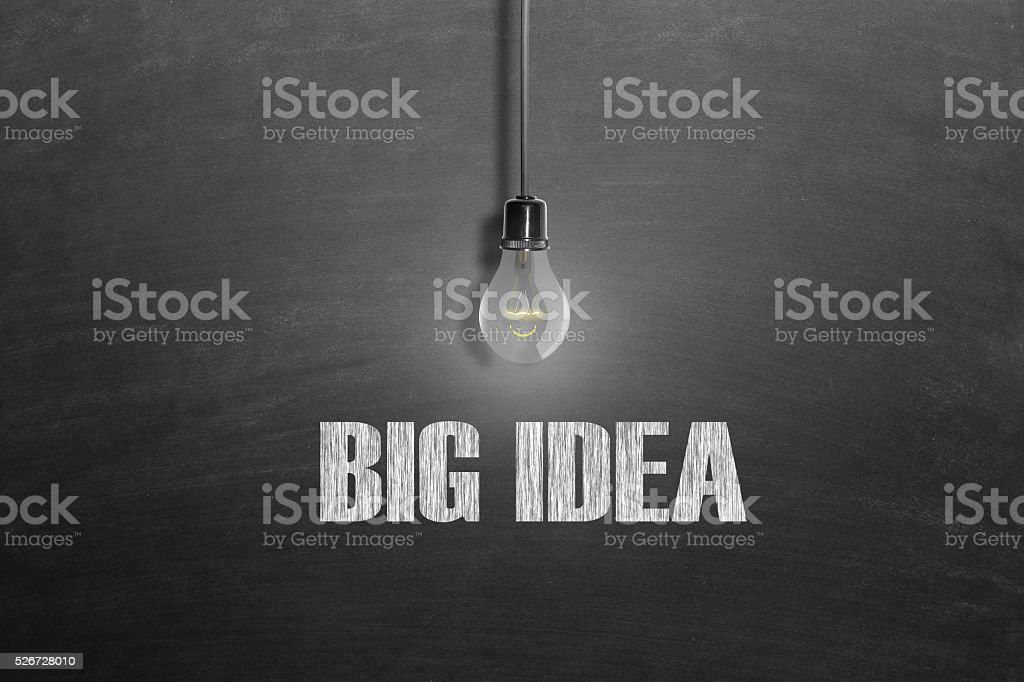 Light bulb front of black blackboard stock photo