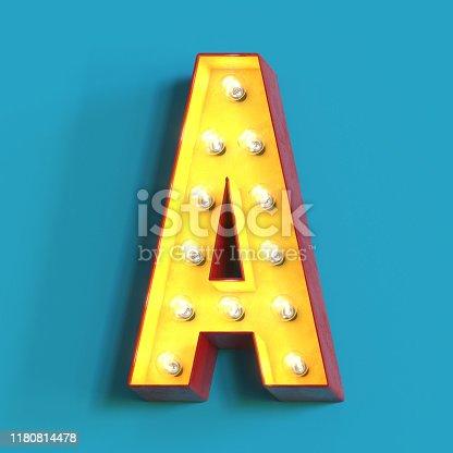1039121906 istock photo Light bulb glowing font,3d alphabet letter A 1180814478