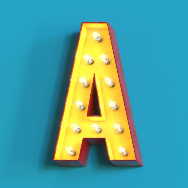 Light bulb glowing font,3d alphabet letter A stock photo