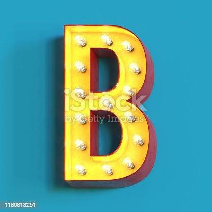 1039121906 istock photo Light bulb glowing font,3d alphabet letter B 1180813251