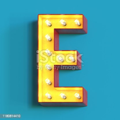 1039121906 istock photo Light bulb glowing font,3d alphabet letter E 1180814410