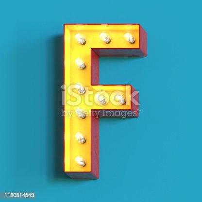1039121906 istock photo Light bulb glowing font,3d alphabet letter F 1180814543
