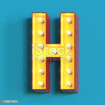 1039121906 istock photo Light bulb glowing font,3d alphabet letter H 1180814524
