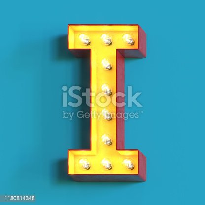 1039121906 istock photo Light bulb glowing font,3d alphabet letter I 1180814348