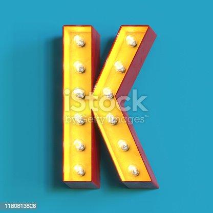 1039121906 istock photo Light bulb glowing font,3d alphabet letter K 1180813826
