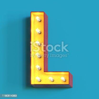 1039121906 istock photo Light bulb glowing font,3d alphabet letter L 1180814363