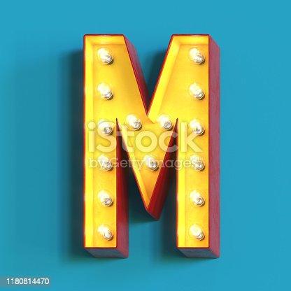 1039121906 istock photo Light bulb glowing font,3d alphabet letter M 1180814470