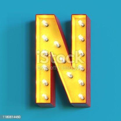1039121906 istock photo Light bulb glowing font,3d alphabet letter N 1180814450