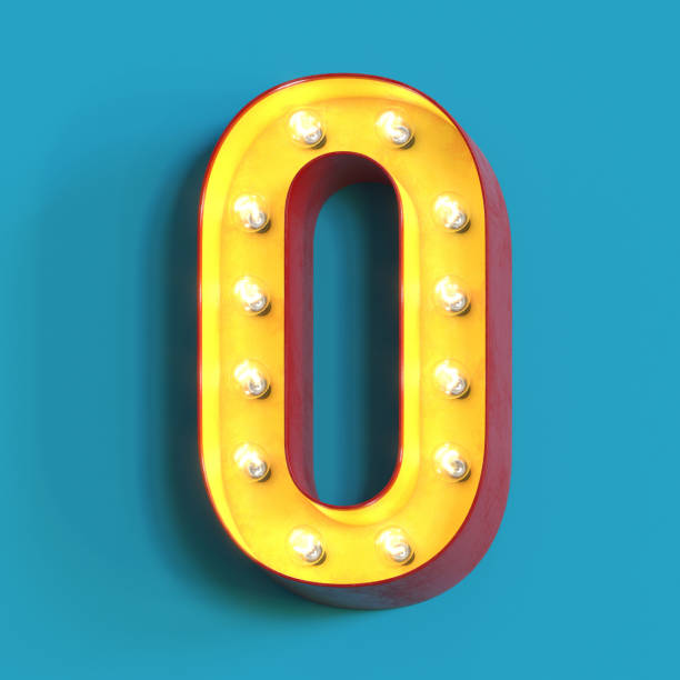 Light bulb glowing font,3d alphabet letter O stock photo