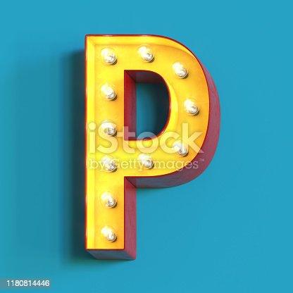 1039121906 istock photo Light bulb glowing font,3d alphabet letter P 1180814446