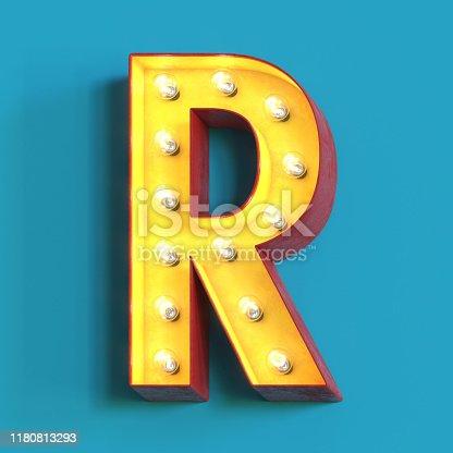 1039121906 istock photo Light bulb glowing font,3d alphabet letter R 1180813293