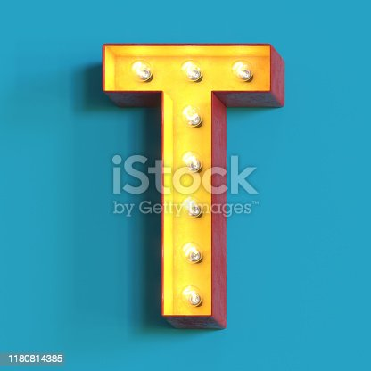 Light bulb glowing font, 3d alphabet character, 3d rendering, letter T