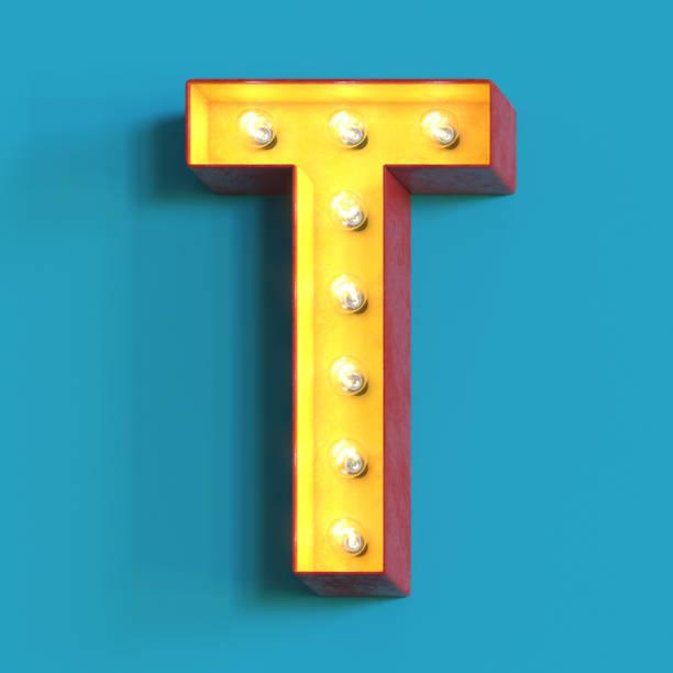 Light bulb glowing font,3d alphabet letter T Light bulb glowing font, 3d alphabet character, 3d rendering, letter T letter t stock pictures, royalty-free photos & images