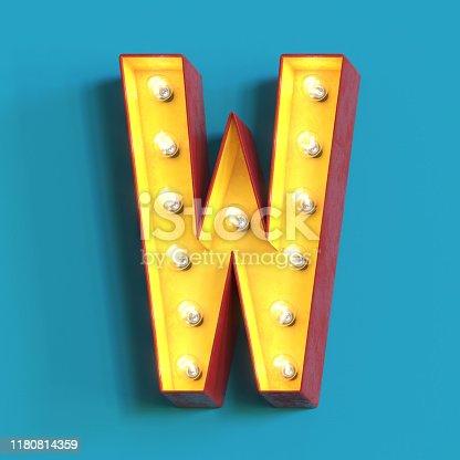 1039121906 istock photo Light bulb glowing font,3d alphabet letter W 1180814359
