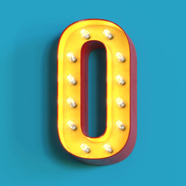 Light bulb glowing font,3d alphabet number 0 stock photo