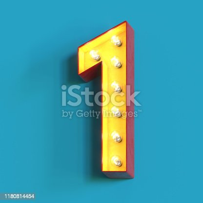 Light bulb glowing font, 3d alphabet character, 3d rendering, number 1