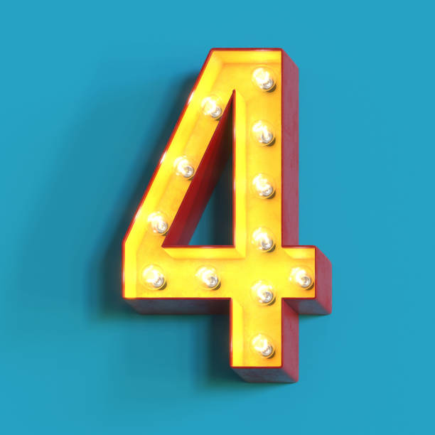 Light bulb glowing font,3d alphabet number 4 Light bulb glowing font, 3d alphabet character, 3d rendering, number 4 number 4 stock pictures, royalty-free photos & images