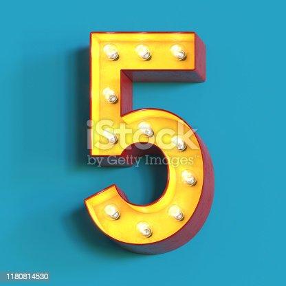 1039121906 istock photo Light bulb glowing font,3d alphabet number 5 1180814530