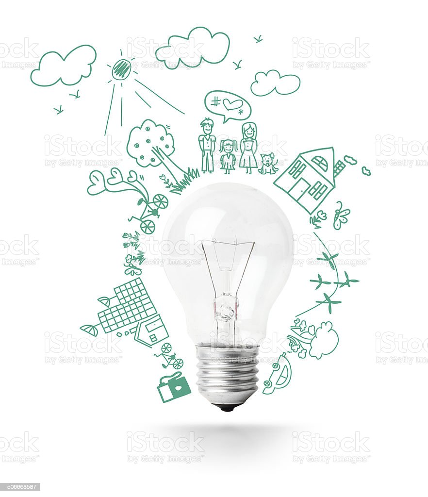 Light Bulb Idea With Creative Drawing Eco Friendly Royalty Free Stock Photo