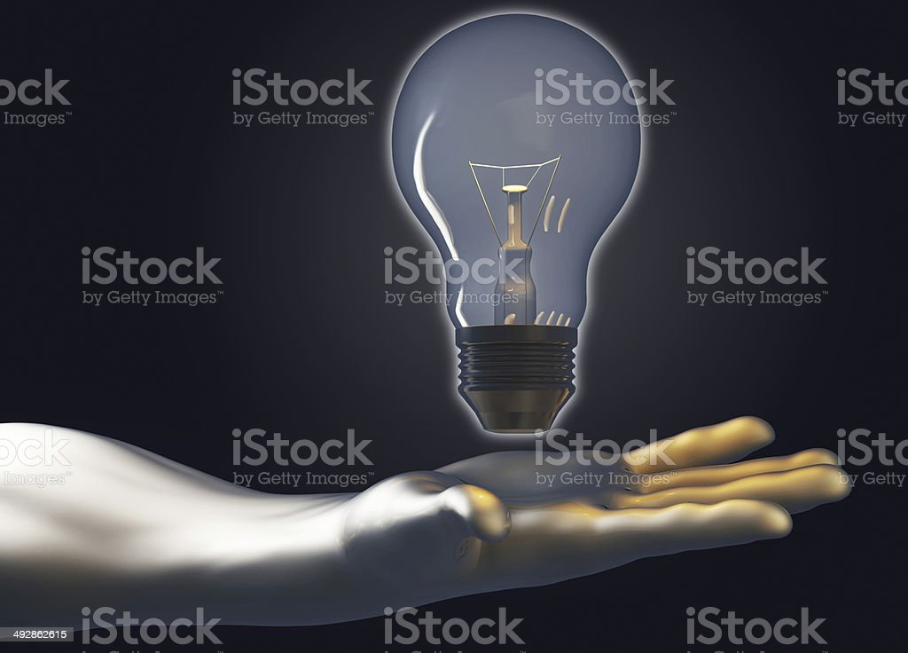 Light bulb in hand royalty-free stock photo