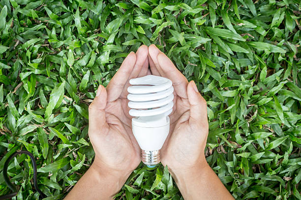 Light bulb in hand with energy saving eco lamp stock photo