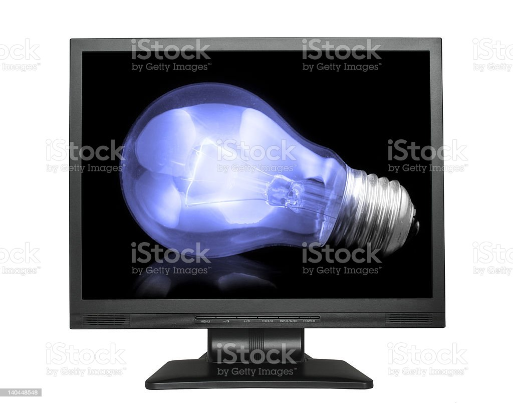 light bulb in lcd screen royalty-free stock photo
