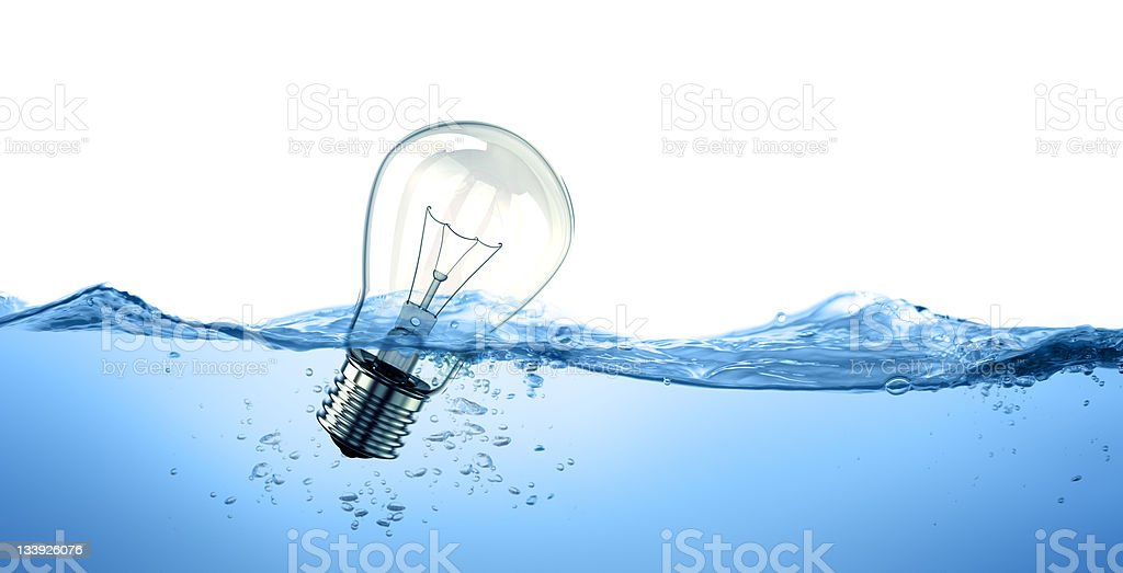 Light bulb in water stock photo