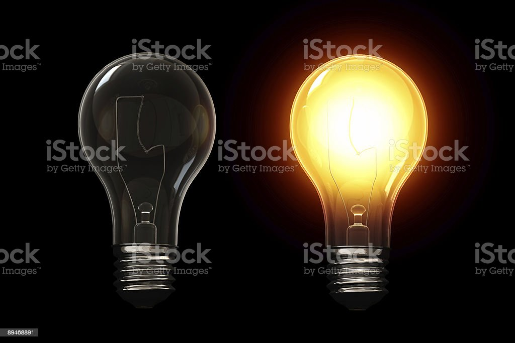 Light bulb isolated over a black background. royalty-free stock photo