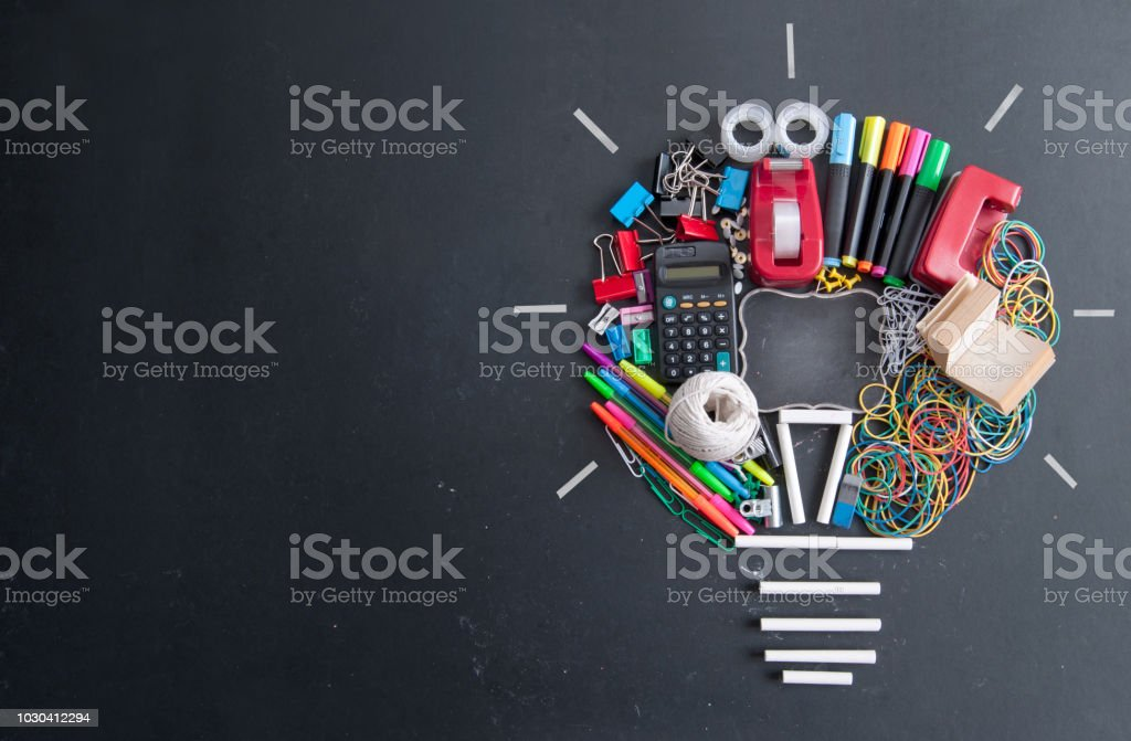 Light bulb made from stationery stock photo