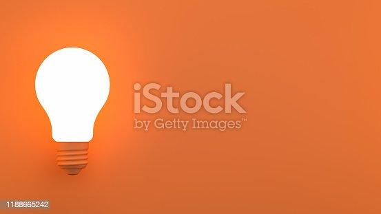 3d rendering of lightbulb on orange color background. Minimal idea concept.