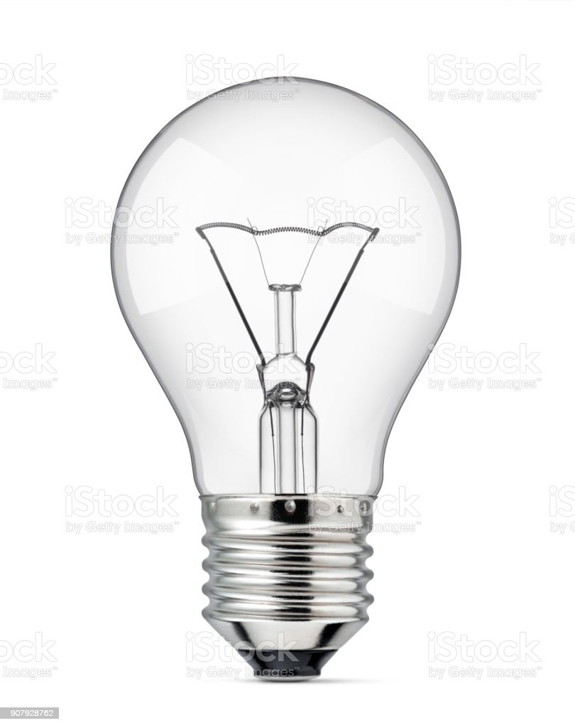 Light bulb on a white background stock photo