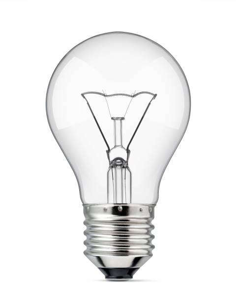 light bulb on a white background - light bulb stock pictures, royalty-free photos & images