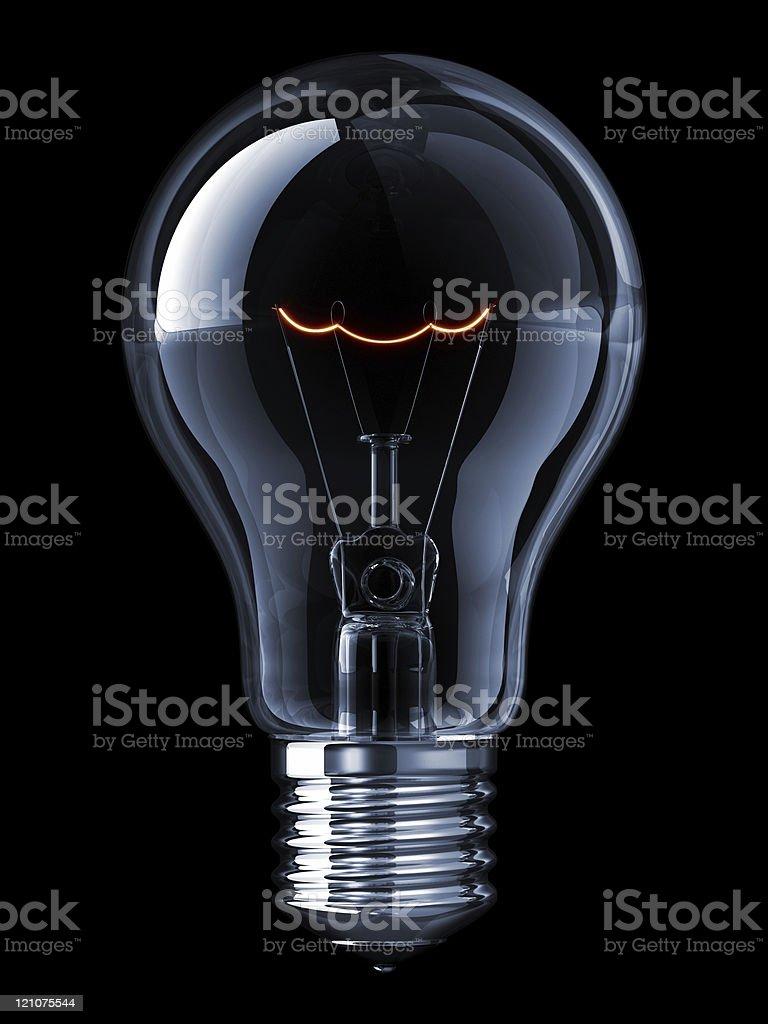 Light Bulb On Black stock photo