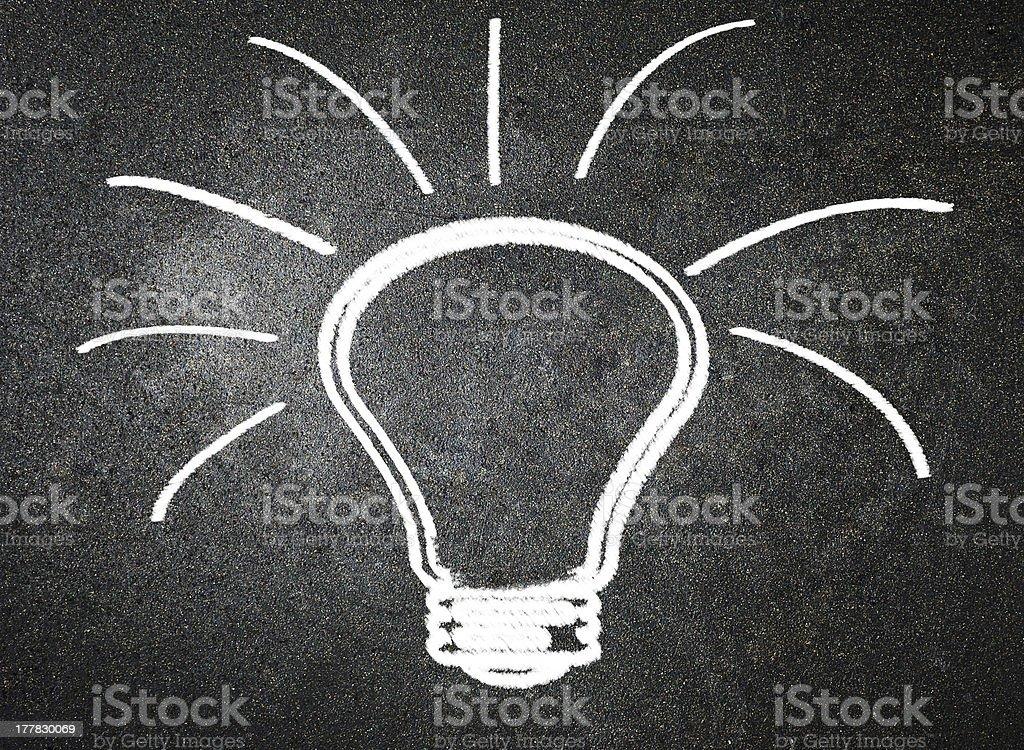 Light bulb on blackboard background royalty-free stock photo