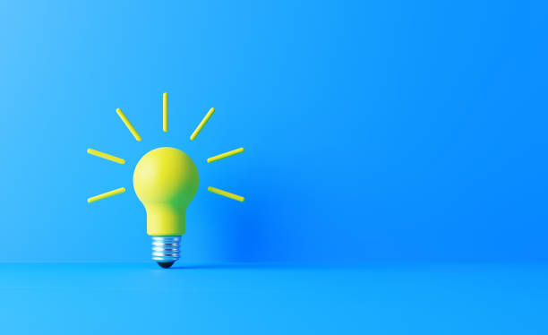 Light Bulb On Blue Background Light bulb on blue background. Horizontal composition with copy space. Creativity and innovation concept. ideas stock pictures, royalty-free photos & images