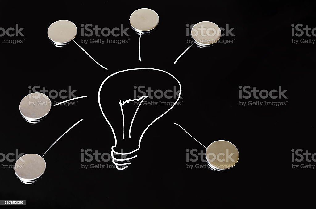 Light bulb on chalkboard stock photo
