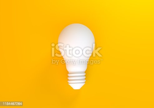 White light bulb on bright yellow background in pastel colors. Minimalist concept, bright idea concept, isolated lamp. 3D rendering