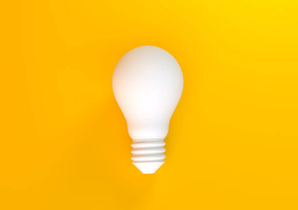 Light bulb on pastel yellow background White light bulb on bright yellow background in pastel colors. Minimalist concept, bright idea concept, isolated lamp. 3D rendering stereoscopic image stock pictures, royalty-free photos & images