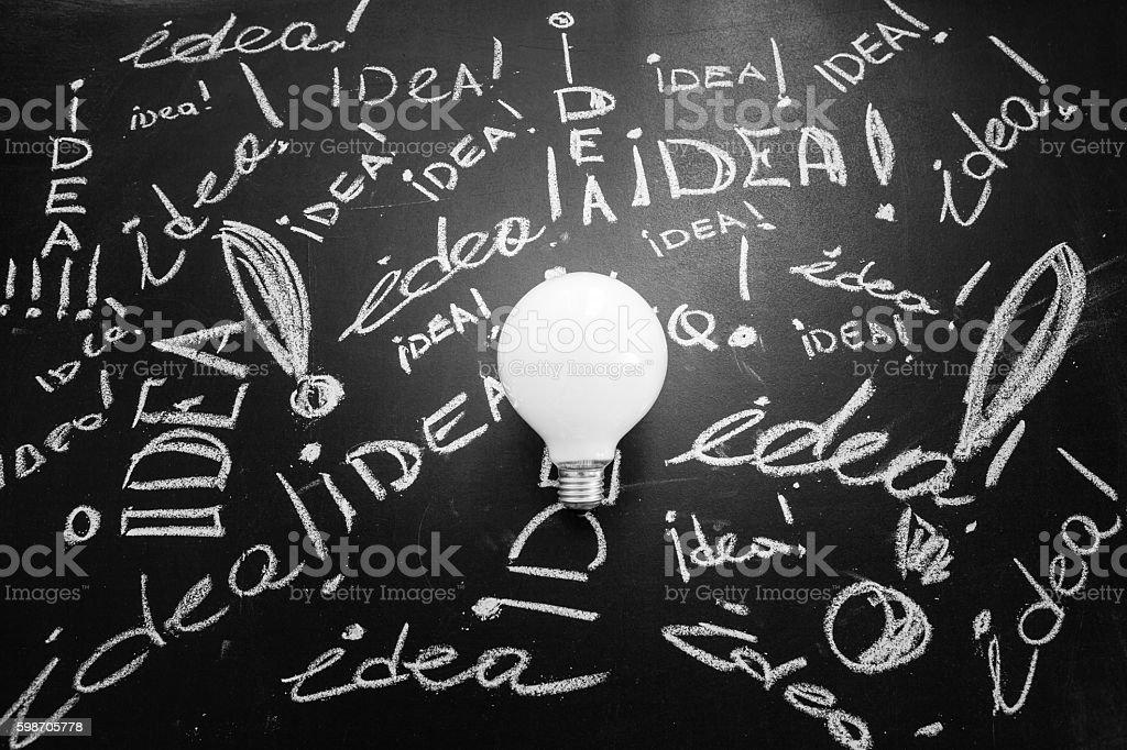 Light bulb on the black chalkboard with titles idea, light bulb idea...