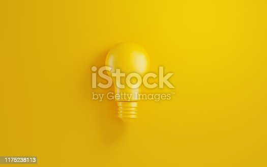 Light bulb on yellow background. Horizontal composition with copy space. Creativity and innovation concept.